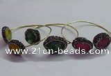 CGB1507 18*25mm - 20*28mm freeform druzy agate bangles wholesale