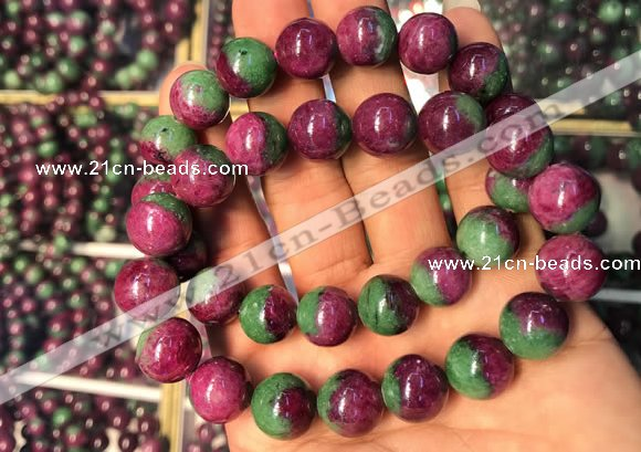 CGB2523 7.5 inches 12mm round ruby zoisite beaded bracelets