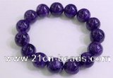 CGB2565 7.5 inches 14mm round charoite gemstone beaded bracelets