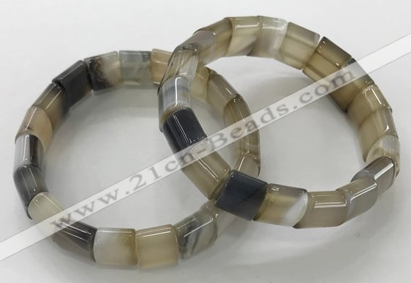 CGB3175 7.5 inches 12*15mm rectangle agate bracelets wholesale