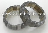 CGB3246 7.5 inches 12*25mm oval grey agate bracelets