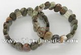 CGB3284 7.5 inches 10*15mm faceted oval rainforest agate bracelets
