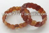 CGB3298 7.5 inches 10*20mm faceted oval red agate bracelets