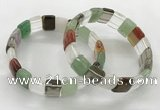 CGB3427 7.5 inches 12*15mm faceted rectangle mixed gemstone bracelets