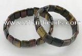 CGB3434 7.5 inches 12*15mm faceted rectangle mixed tiger eye bracelets
