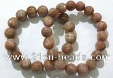 CGB4067 7.5 inches 12mm round sunstone beaded bracelets