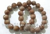 CGB4069 7.5 inches 14mm round sunstone beaded bracelets