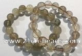CGB4081 7.5 inches 12mm round golden rutilated quartz beaded bracelets