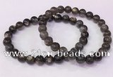 CGB4556 7.5 inches 7mm - 8mm round black sunstone beaded bracelets