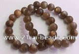 CGB4566 7.5 inches 12mm round golden sunstone beaded bracelets