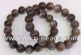 CGB4571 7.5 inches 12mm round black sunstone beaded bracelets