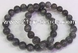 CGB4582 7.5 inches 9mm - 10mm round black sunstone beaded bracelets