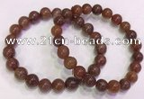 CGB4626 8mm - 9mm round red rutilated quartz beaded bracelets