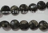 CGE122 15.5 inches 10mm flat round glaucophane gemstone beads