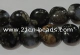 CGE123 15.5 inches 12mm flat round glaucophane gemstone beads