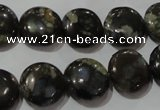 CGE124 15.5 inches 14mm flat round glaucophane gemstone beads