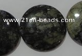 CGE129 15.5 inches 30mm flat round glaucophane gemstone beads