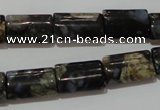 CGE168 15.5 inches 10*16mm flat tube glaucophane gemstone beads