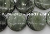 CGH21 15.5 inches 18mm flat round green hair stone beads wholesale