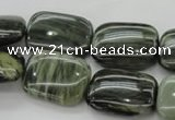 CGH27 15.5 inches 12*16mm rectangle green hair stone beads wholesale
