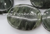CGH50 15.5 inches 30*40mm oval green hair stone beads wholesale