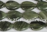 CGH52 15.5 inches 10*14mm flat teardrop green hair stone beads
