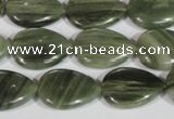 CGH53 15.5 inches 12*16mm flat teardrop green hair stone beads