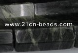 CGH62 15.5 inches 16*40mm faceted tube green hair stone beads