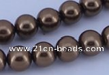 CGL105 5PCS 16 inches 10mm round dyed glass pearl beads wholesale
