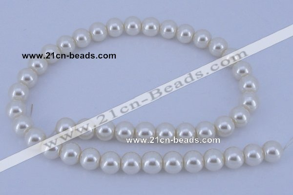 CGL16 5PCS 16 inches 12mm round dyed glass pearl beads wholesale