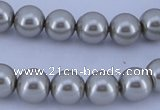 CGL176 5PCS 16 inches 12mm round dyed glass pearl beads wholesale
