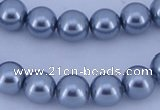 CGL185 5PCS 16 inches 10mm round dyed glass pearl beads wholesale