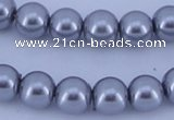 CGL192 10PCS 16 inches 4mm round dyed glass pearl beads wholesale