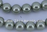 CGL202 10PCS 16 inches 4mm round dyed glass pearl beads wholesale