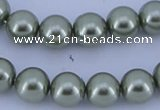 CGL205 5PCS 16 inches 10mm round dyed glass pearl beads wholesale