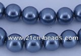 CGL234 10PCS 16 inches 8mm round dyed glass pearl beads wholesale