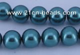 CGL248 5PCS 16 inches 16mm round dyed glass pearl beads wholesale