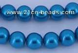 CGL255 5PCS 16 inches 10mm round dyed glass pearl beads wholesale