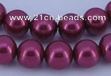 CGL316 5PCS 16 inches 12mm round dyed glass pearl beads wholesale