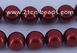 CGL322 10PCS 16 inches 4mm round dyed glass pearl beads wholesale