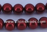 CGL328 5PCS 16 inches 16mm round dyed glass pearl beads wholesale
