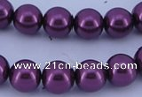 CGL338 5PCS 16 inches 16mm round dyed glass pearl beads wholesale