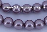 CGL387 5PCS 16 inches 14mm round dyed glass pearl beads wholesale
