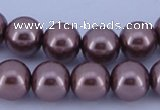 CGL395 5PCS 16 inches 10mm round dyed glass pearl beads wholesale