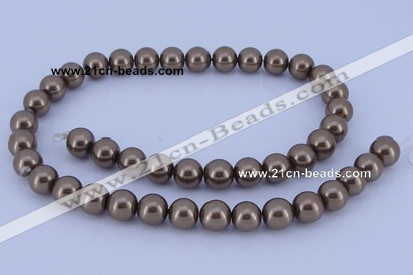 CGL95 5PCS 16 inches 10mm round dyed glass pearl beads wholesale
