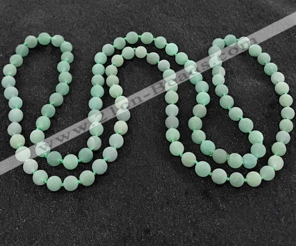 CGN1003 8mm round matte green aventurine 108 beads mala necklaces