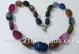 CGN111 20 inches 10*15mm - 20*30mm nuggets agate gemstone necklaces