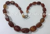 CGN125 22 inches 10*14mm - 20*30mm nuggets red agate necklaces