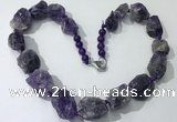 CGN141 19.5 inches 10*14mm - 20*30mm nuggets amethyst necklaces