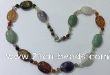 CGN210 22 inches 6mm round & 18*25mm oval mixed gemstone necklaces